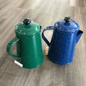 Metal carafe camping lot kettle blue green new